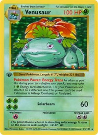 Venusaur, Pokemon, Base Set (Shadowless)