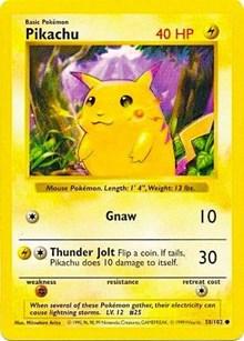 Pikachu (Red Cheeks), Pokemon, Base Set (Shadowless)