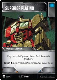Superior Plating, Transformers TCG, Rise of the Combiners