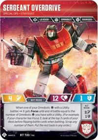 Sergeant Overdrive - Special Ops Strategist, Transformers TCG, Transformers Promos