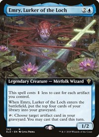 Emry, Lurker of the Loch (Extended Art), Magic: The Gathering, Throne of Eldraine