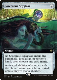 Sorcerous Spyglass (Extended Art), Magic: The Gathering, Throne of Eldraine