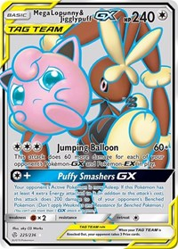 Mega Lopunny & Jigglypuff GX (Full Art), Pokemon, SM - Cosmic Eclipse