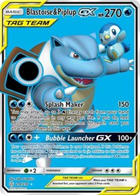 Blastoise & Piplup GX (Full Art), Pokemon, SM - Cosmic Eclipse