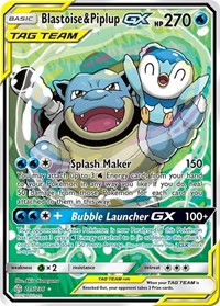 Blastoise & Piplup GX (Alternate Art), Pokemon, SM - Cosmic Eclipse