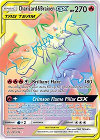 Charizard & Braixen GX (Secret), Pokemon, SM - Cosmic Eclipse