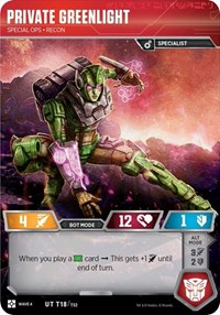 Private Greenlight - Special Ops Recon, Transformers TCG, War for Cybertron: Siege II