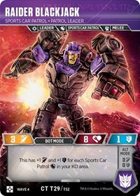 Raider Blackjack - Sports Car Patrol Patrol Leader, Transformers TCG, War for Cybertron: Siege II