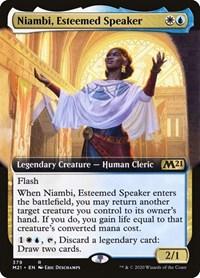 Niambi, Esteemed Speaker (Extended Art), Magic: The Gathering, Core Set 2021