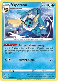Vaporeon, Pokemon, SWSH04: Vivid Voltage