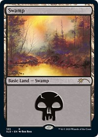 Swamp (105) (Bob Ross), Magic: The Gathering, Secret Lair Drop Series