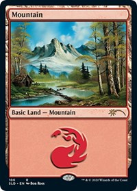 Mountain (106) (Bob Ross), Magic: The Gathering, Secret Lair Drop Series