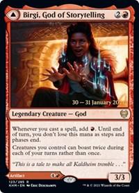 Birgi, God of Storytelling, Magic: The Gathering, Prerelease Cards