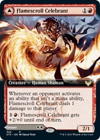 Flamescroll Celebrant (Extended Art), Magic: The Gathering, Strixhaven: School of Mages