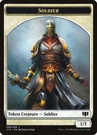 Soldier // Spirit Double-sided Token, Magic: The Gathering, Commander 2014